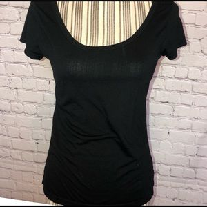 BCG Black Short Sleeve Top. 75% polyester 35%rayon